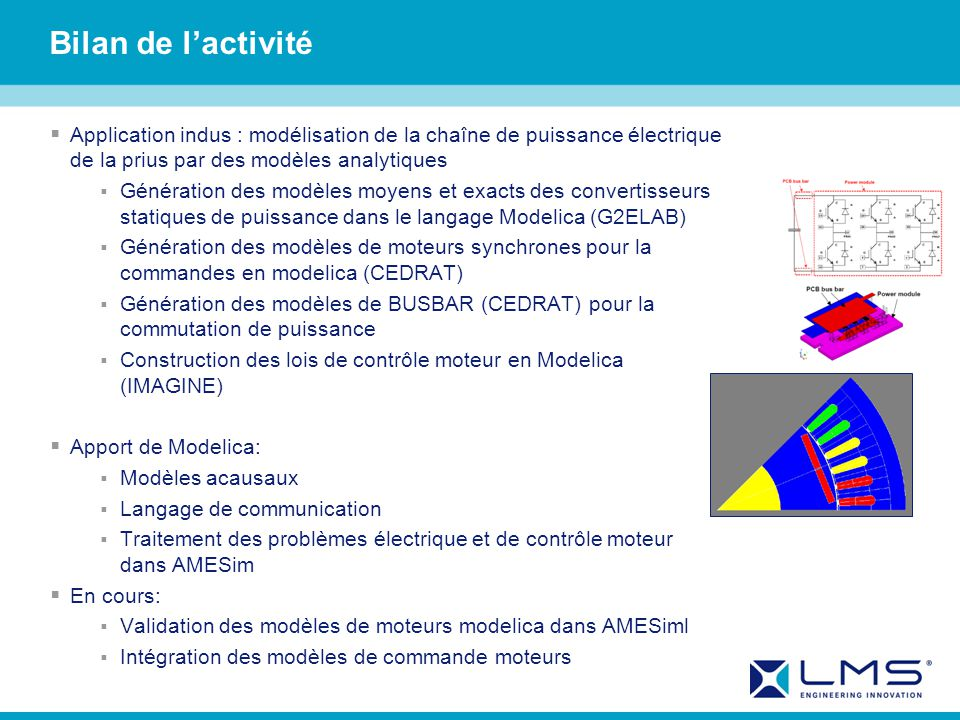Bilan de l'activité Application indus : modélisation de la chaîne de puissance électrique de la prius par des modèles analytiques.