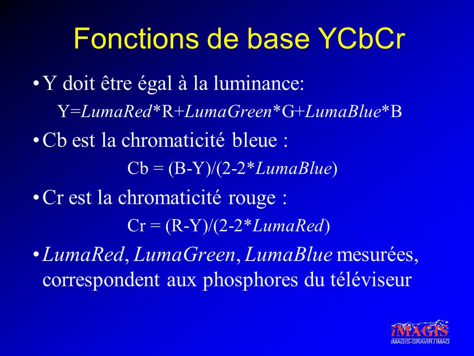 Fonctions de base YCbCr