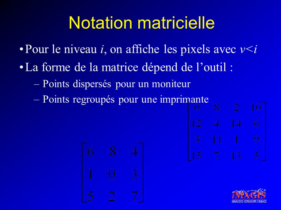 Notation matricielle Pour le niveau i, on affiche les pixels avec v<i. La forme de la matrice dépend de l'outil :