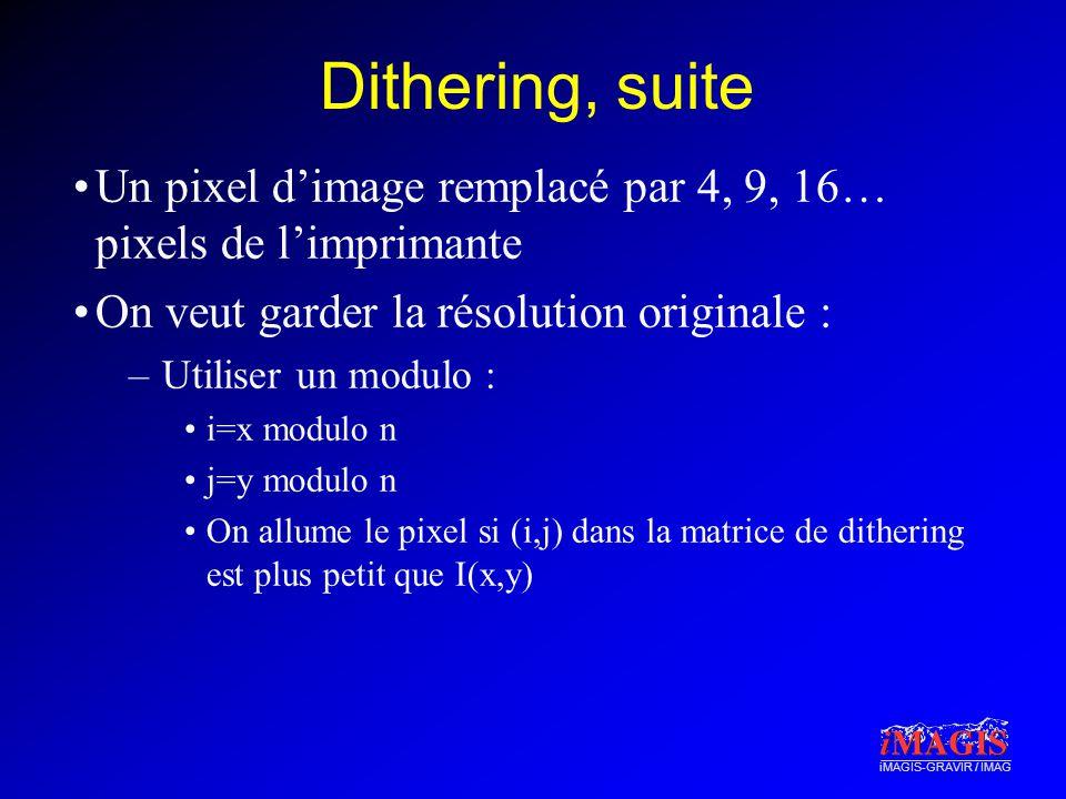 Dithering, suite Un pixel d'image remplacé par 4, 9, 16… pixels de l'imprimante. On veut garder la résolution originale :