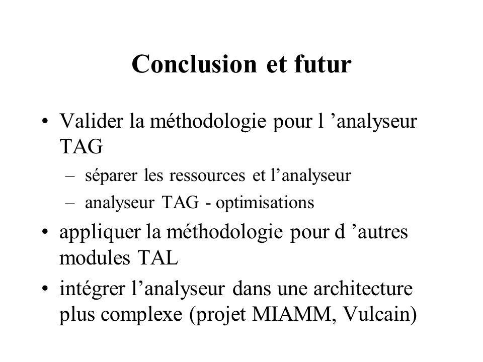 Conclusion et futur Valider la méthodologie pour l 'analyseur TAG