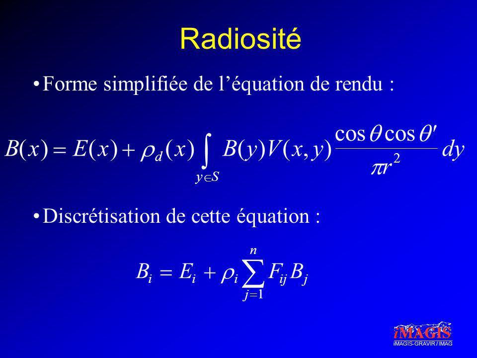   Radiosité B ( x )  E   y V , cos     r dy B  E   F