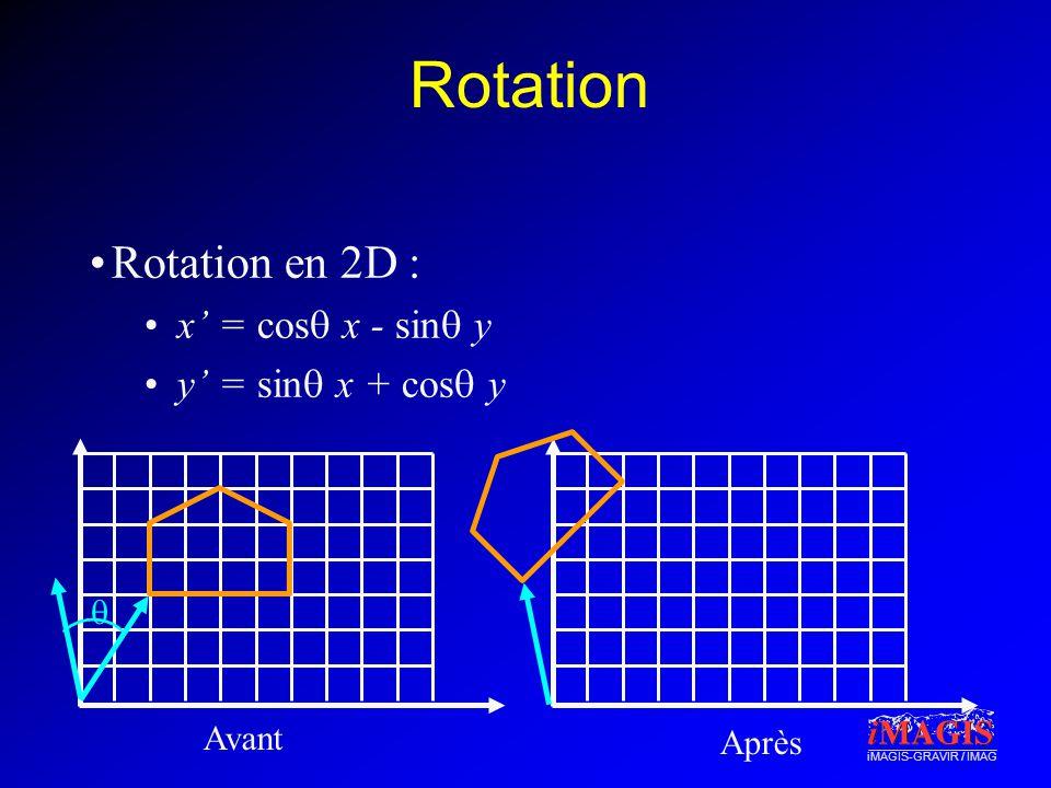 Rotation Rotation en 2D : x' = cosq x - sinq y y' = sinq x + cosq y q