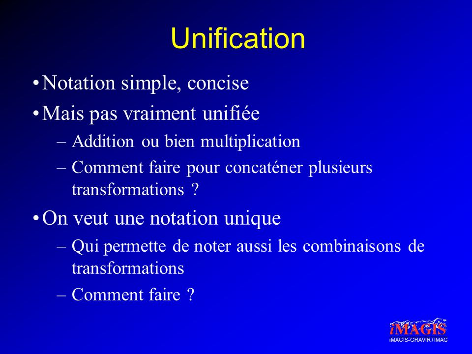 Unification Notation simple, concise Mais pas vraiment unifiée