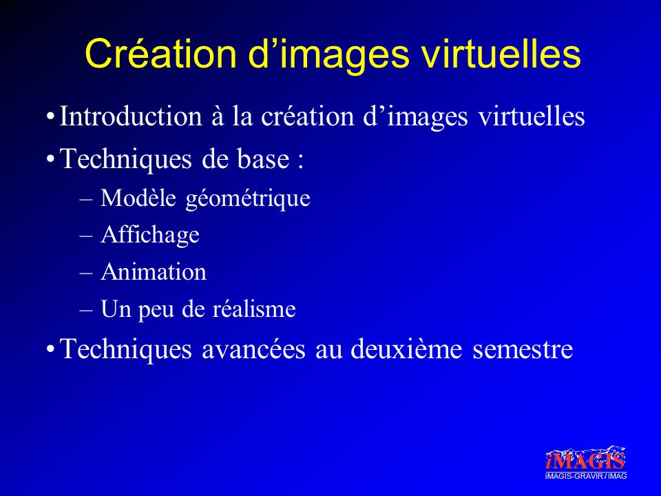 Création d'images virtuelles