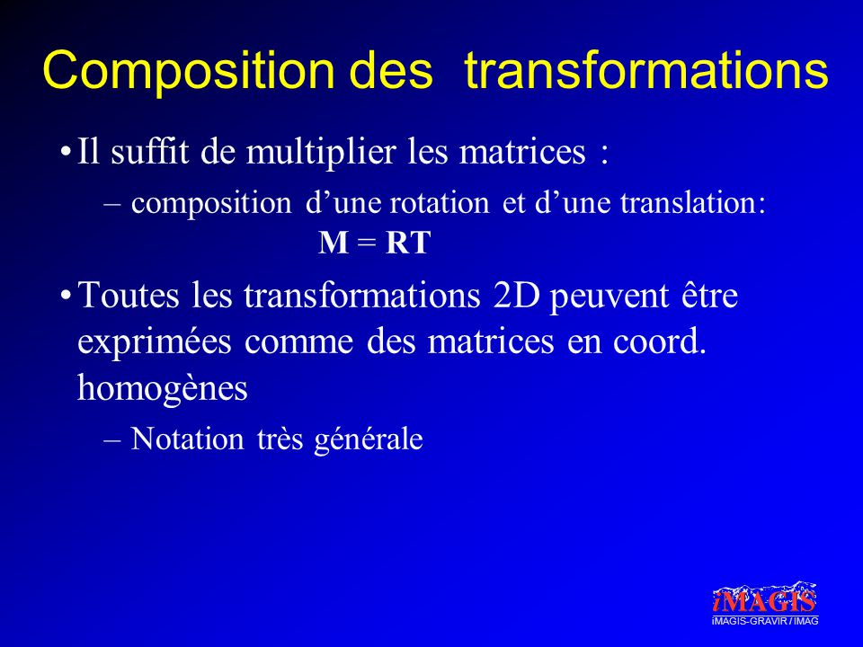Composition des transformations
