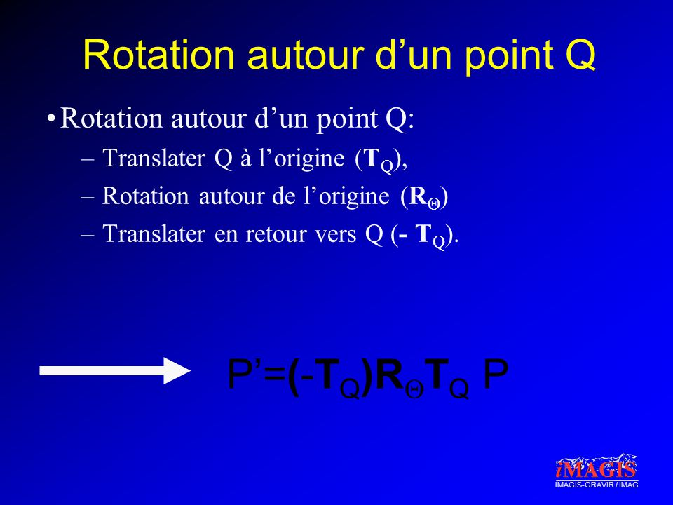 Rotation autour d'un point Q
