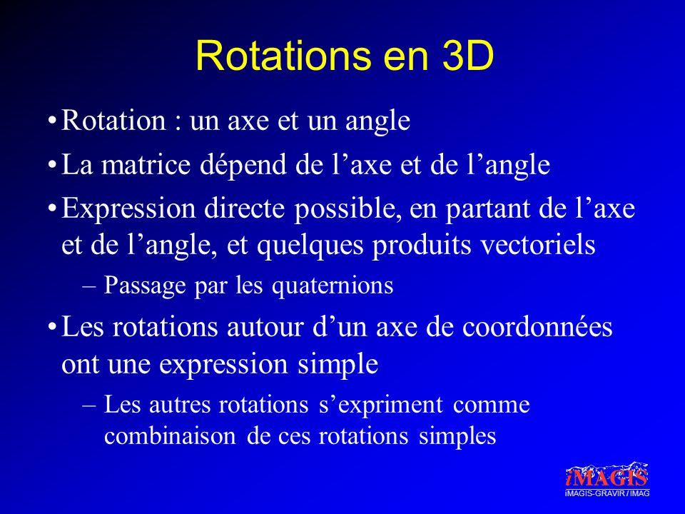Rotations en 3D Rotation : un axe et un angle