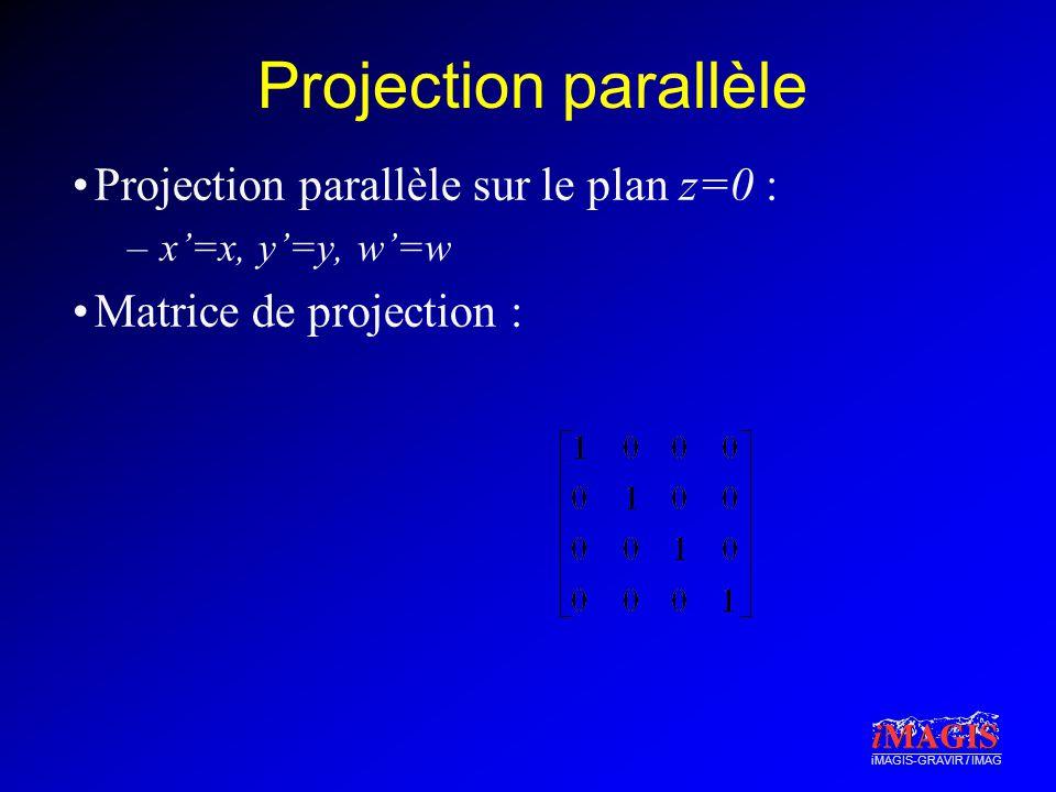 Projection parallèle Projection parallèle sur le plan z=0 :