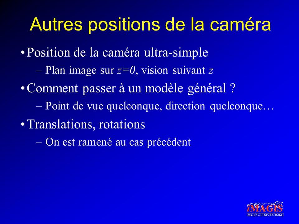 Autres positions de la caméra