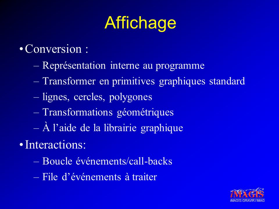 Affichage Conversion : Interactions: