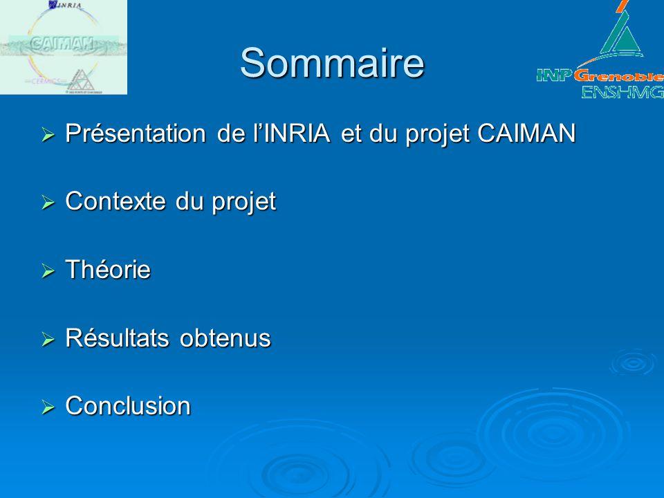 Sommaire Présentation de l'INRIA et du projet CAIMAN