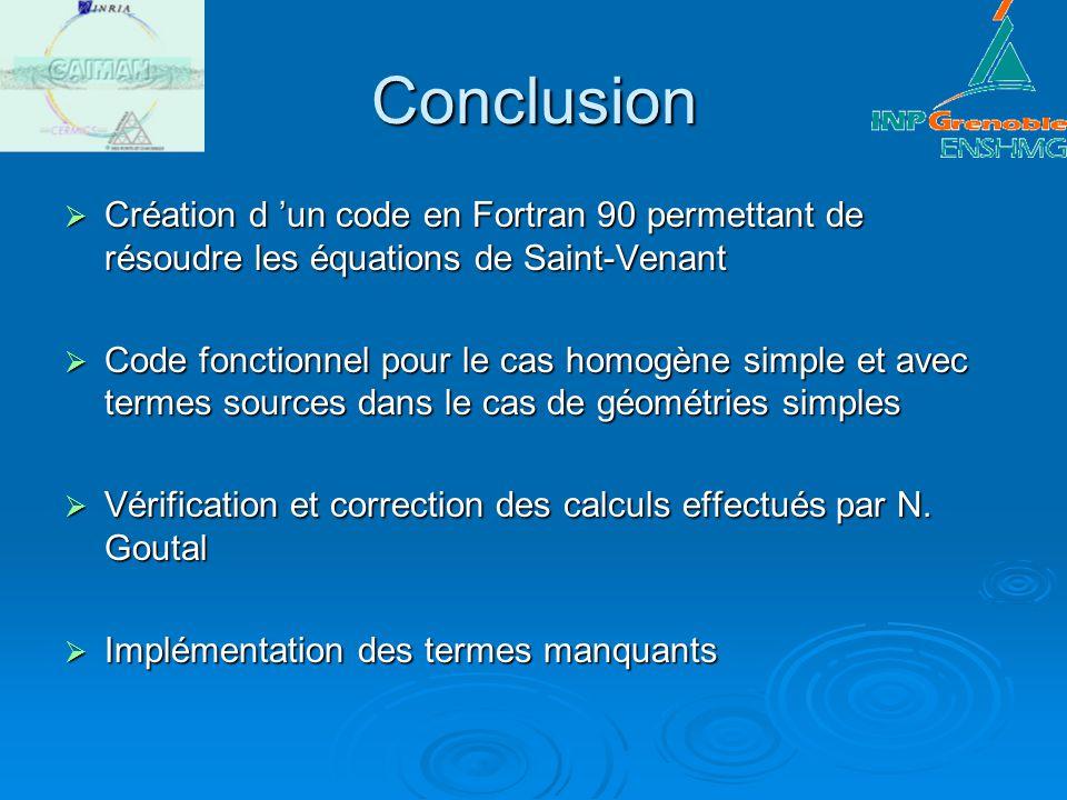 Conclusion Création d 'un code en Fortran 90 permettant de résoudre les équations de Saint-Venant.