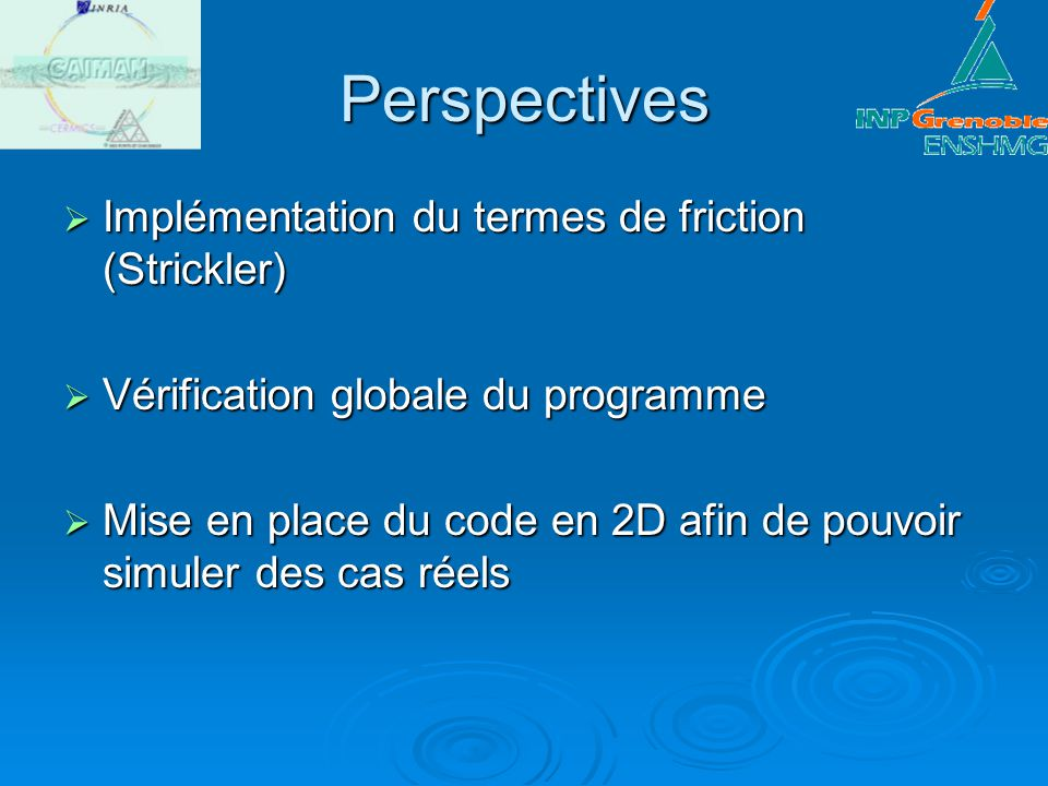 Perspectives Implémentation du termes de friction (Strickler)