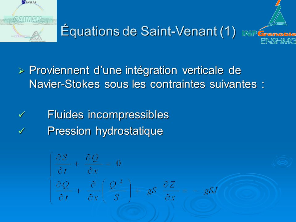 Équations de Saint-Venant (1)