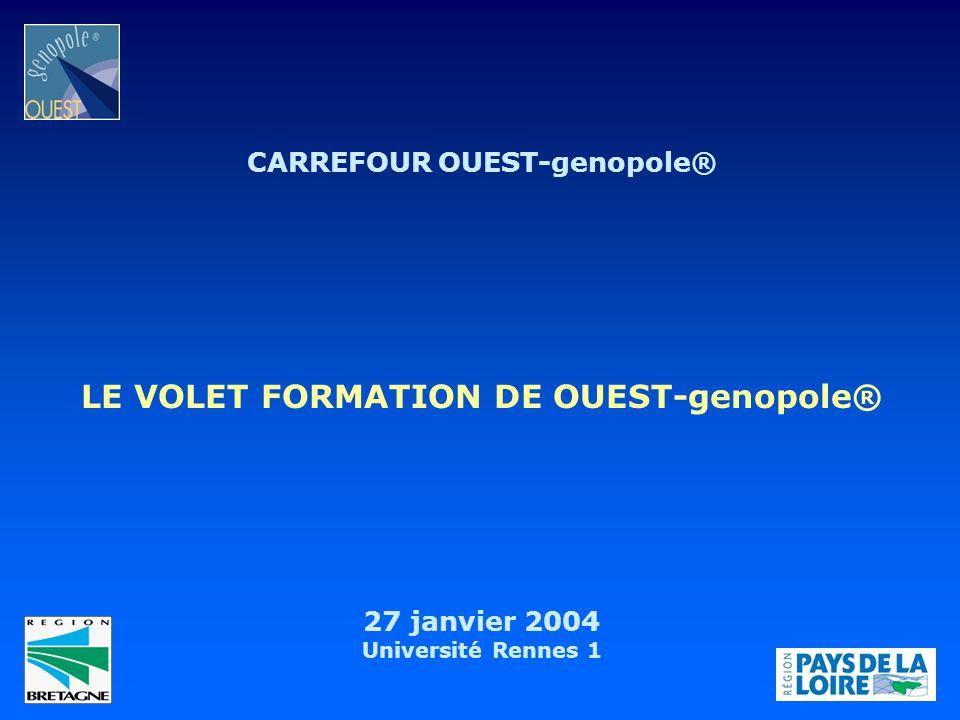 CARREFOUR OUEST-genopole® LE VOLET FORMATION DE OUEST-genopole®