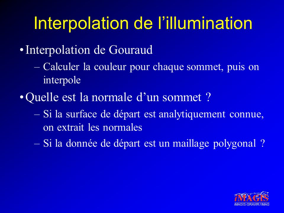 Interpolation de l'illumination