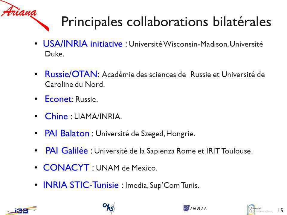 Principales collaborations bilatérales