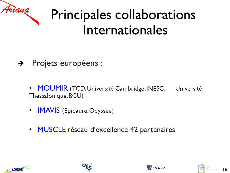Principales collaborations Internationales