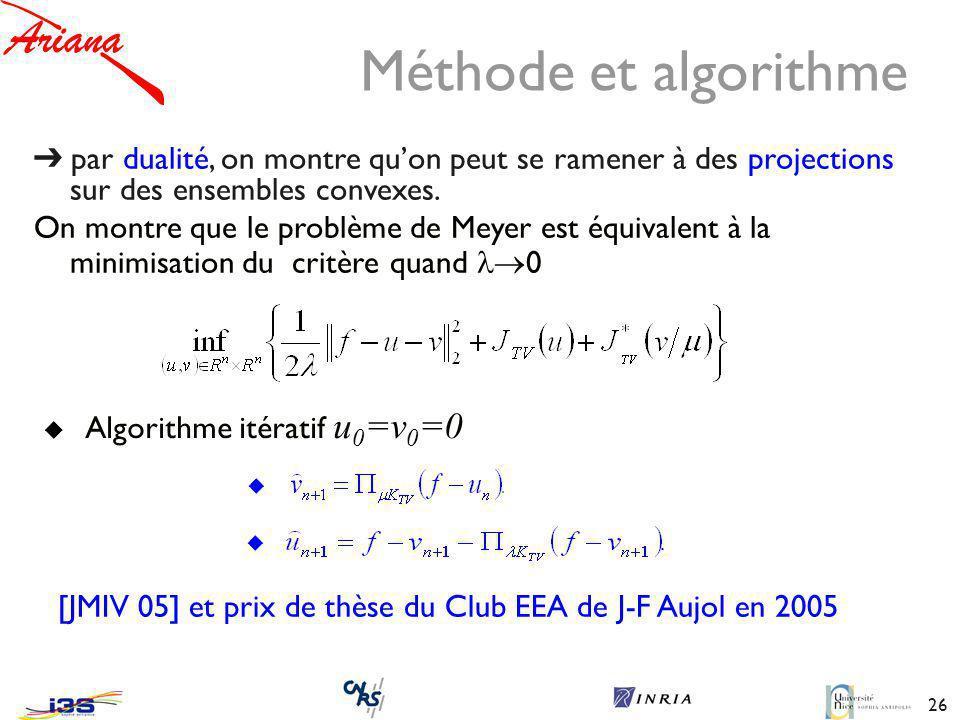 Méthode et algorithme ➔ par dualité, on montre qu'on peut se ramener à des projections sur des ensembles convexes.