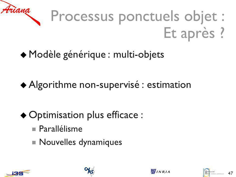 Processus ponctuels objet : Et après