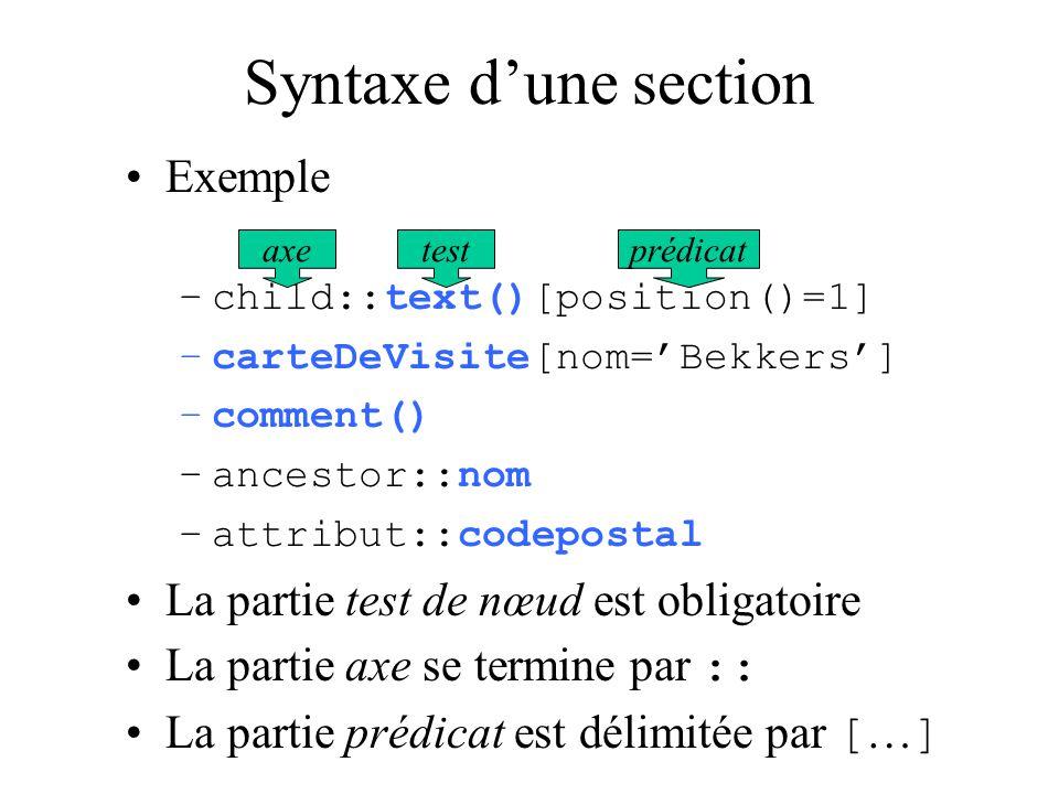 Syntaxe d'une section Exemple La partie test de nœud est obligatoire