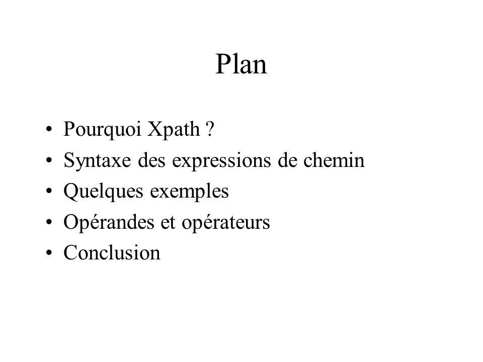 Plan Pourquoi Xpath Syntaxe des expressions de chemin