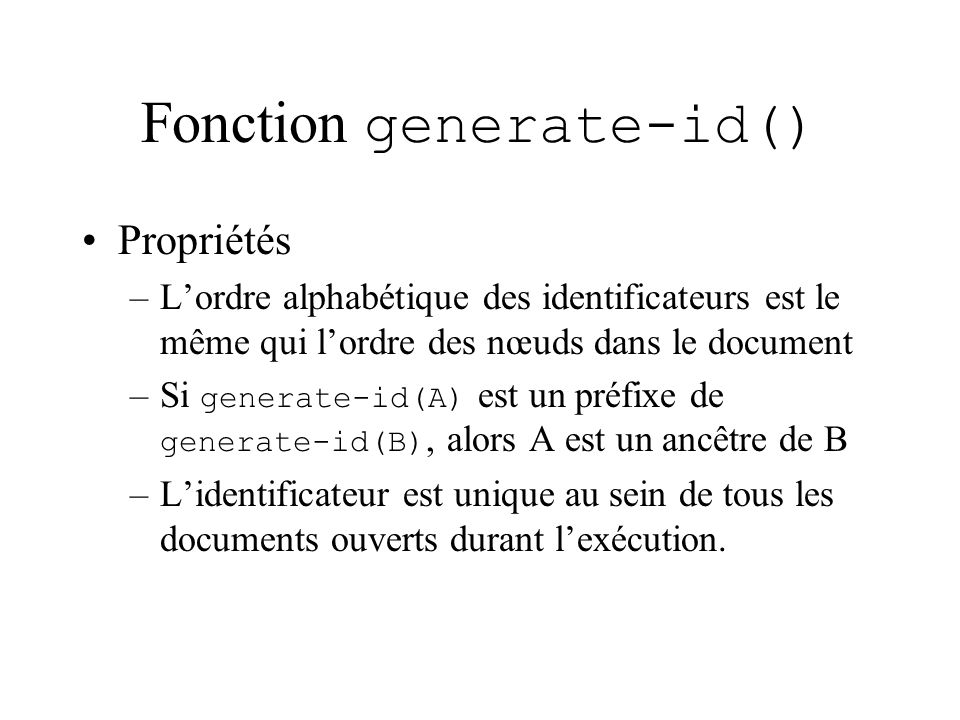 Fonction generate-id()