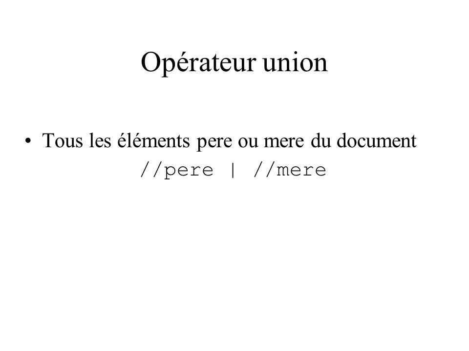 Opérateur union Tous les éléments pere ou mere du document