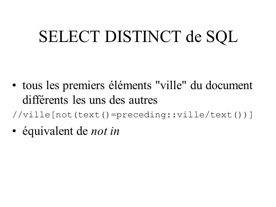 SELECT DISTINCT de SQL tous les premiers éléments ville du document différents les uns des autres.