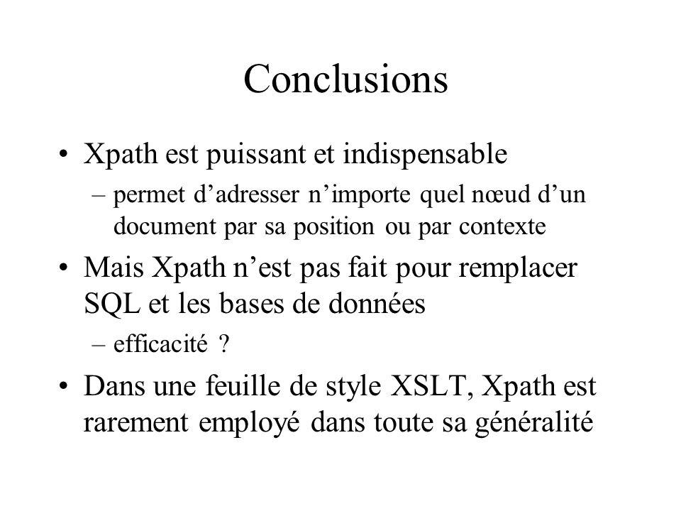 Conclusions Xpath est puissant et indispensable
