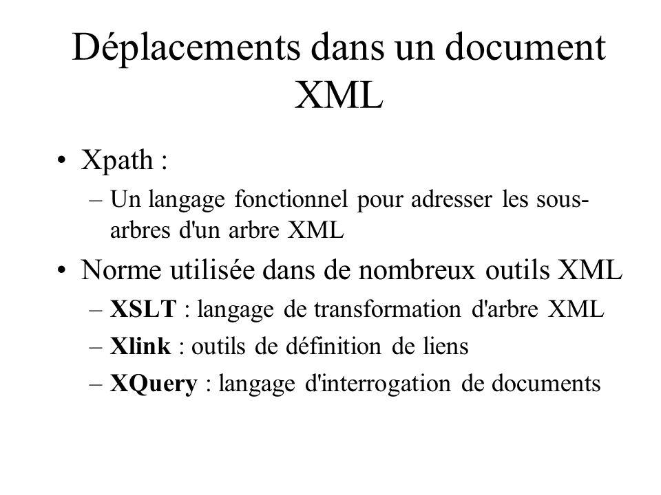 Déplacements dans un document XML