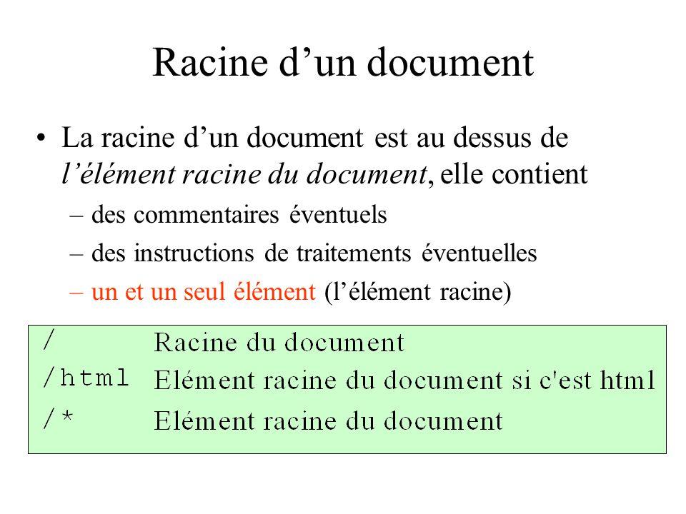 Racine d'un document La racine d'un document est au dessus de l'élément racine du document, elle contient.