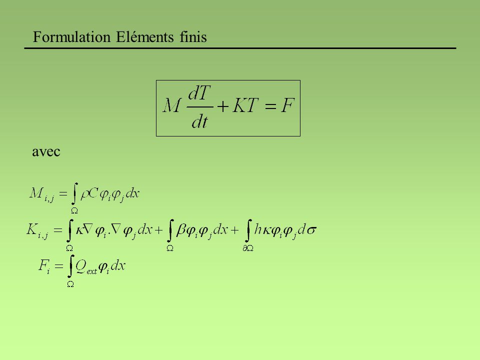 Formulation Eléments finis