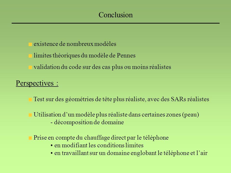 Conclusion Perspectives : existence de nombreux modèles