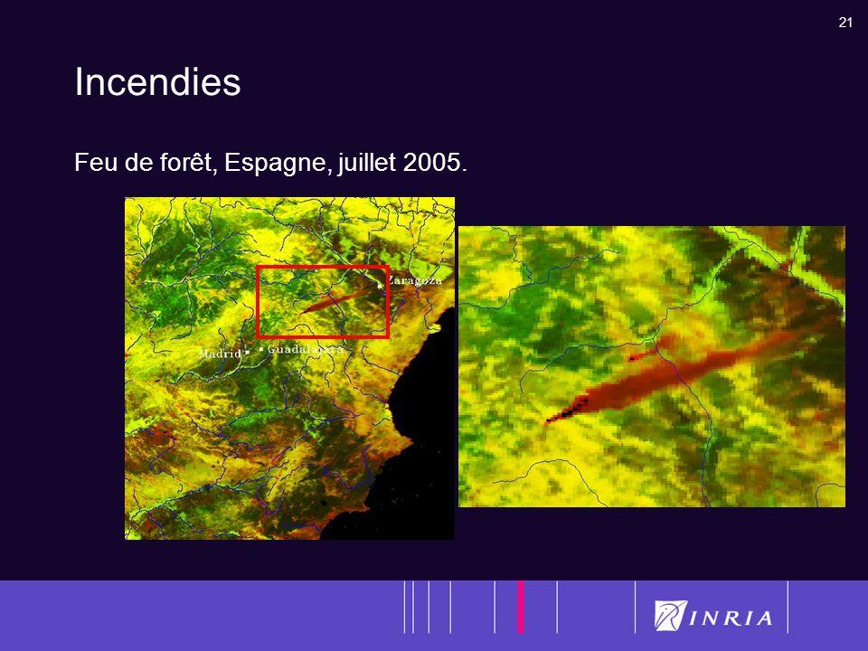 Incendies Feu de forêt, Espagne, juillet 2005.