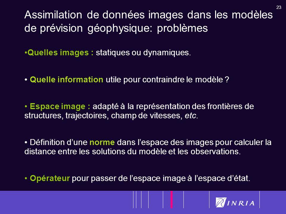 Assimilation de données images dans les modèles de prévision géophysique: problèmes