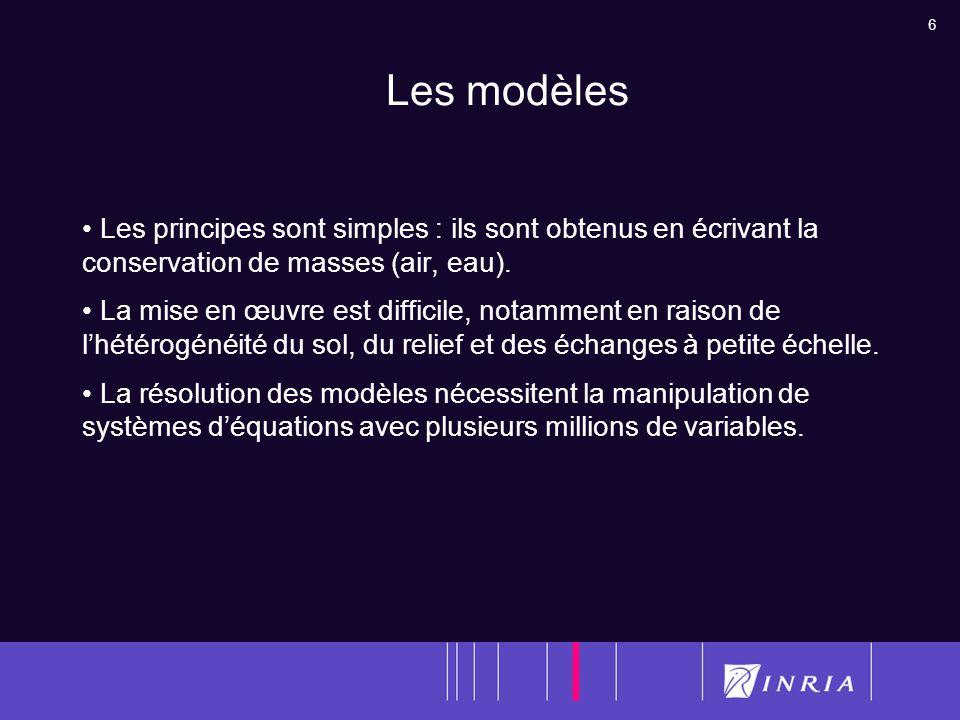 Les modèles Les principes sont simples : ils sont obtenus en écrivant la conservation de masses (air, eau).
