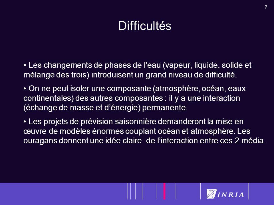 Difficultés Les changements de phases de l'eau (vapeur, liquide, solide et mélange des trois) introduisent un grand niveau de difficulté.