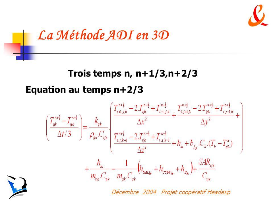 La Méthode ADI en 3D Trois temps n, n+1/3,n+2/3