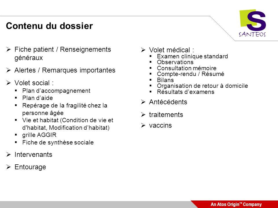 Contenu du dossier Fiche patient / Renseignements généraux