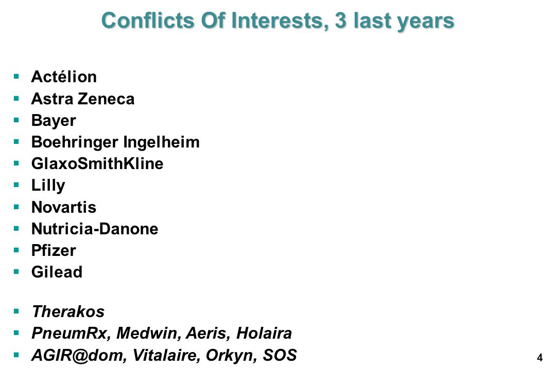 Conflicts Of Interests, 3 last years