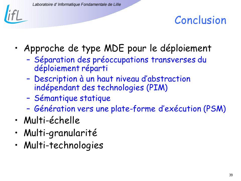 Conclusion Approche de type MDE pour le déploiement Multi-échelle