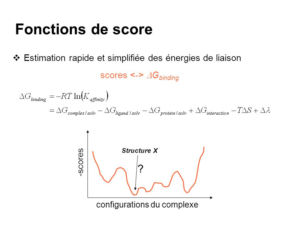Fonctions de score Estimation rapide et simplifiée des énergies de liaison. scores <-> DGbinding. Structure X.