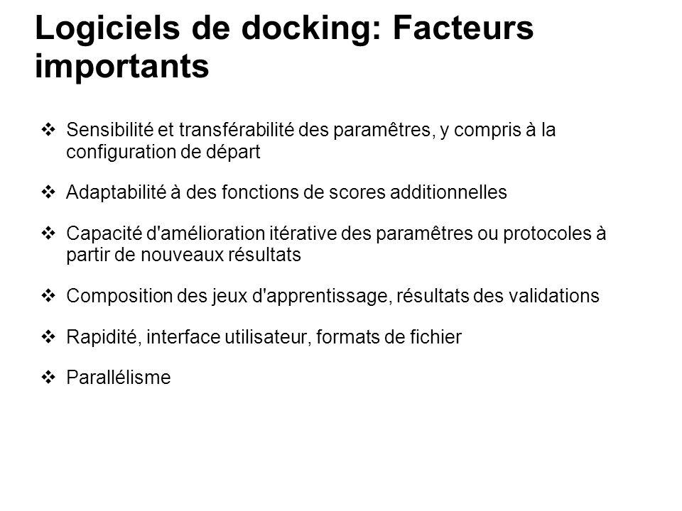 Logiciels de docking: Facteurs importants