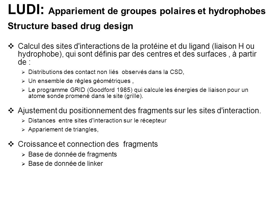 LUDI: Appariement de groupes polaires et hydrophobes Structure based drug design