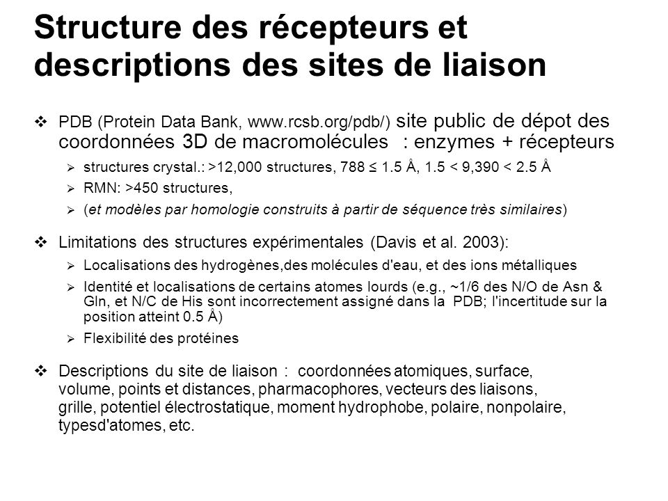 Structure des récepteurs et descriptions des sites de liaison