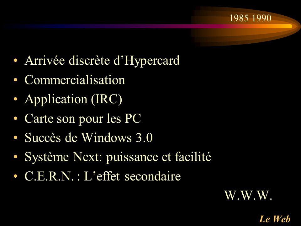 Arrivée discrète d'Hypercard Commercialisation Application (IRC)