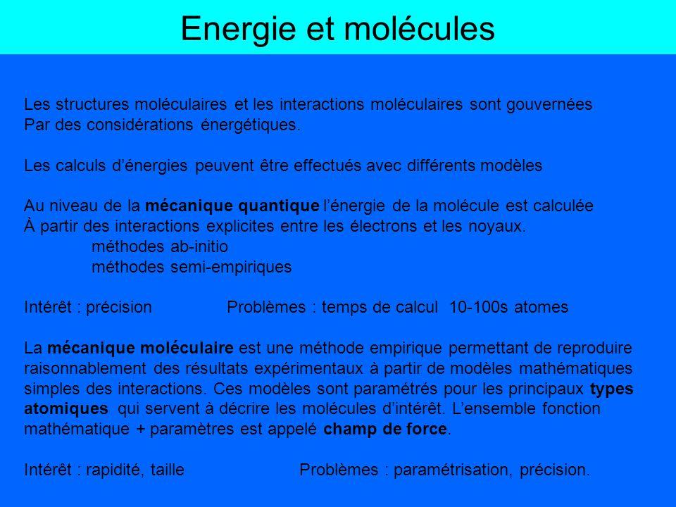 Energie et molécules Les structures moléculaires et les interactions moléculaires sont gouvernées. Par des considérations énergétiques.