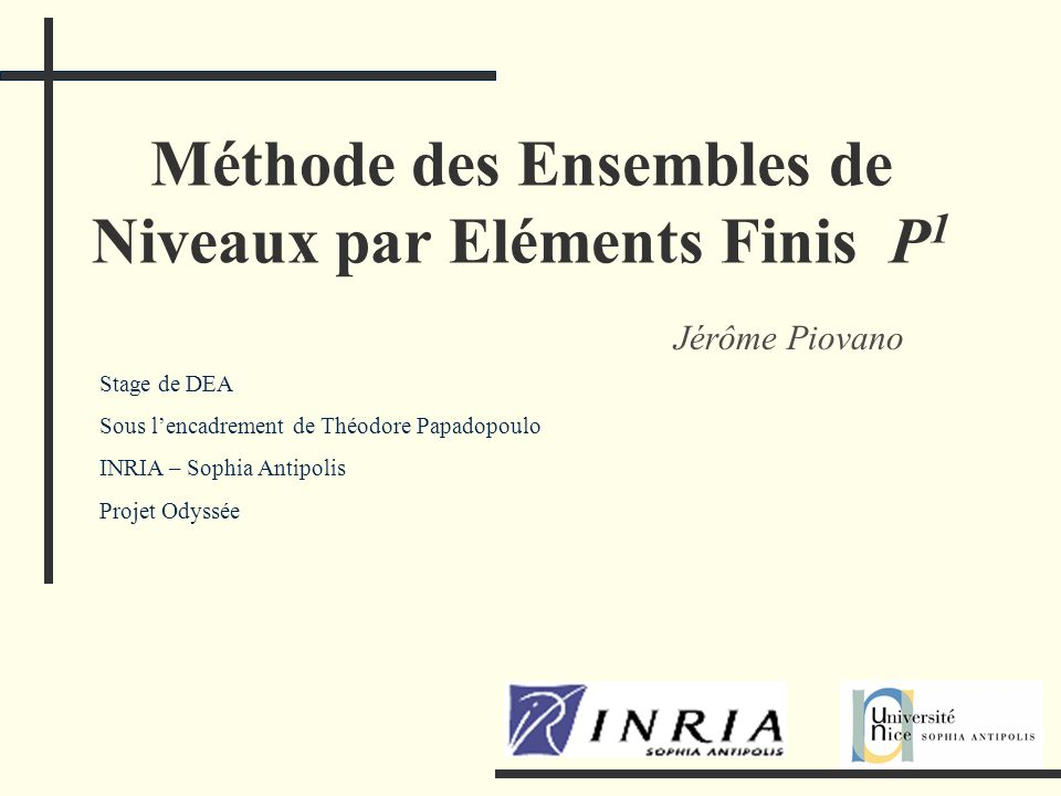 Méthode des Ensembles de Niveaux par Eléments Finis P1